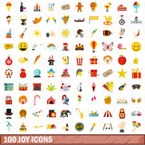 100 joy icons set, flat style. 100 joy icons set in flat style for any design vector illustration royalty free illustration
