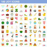 100 joy icons set, flat style. 100 joy icons set in flat style for any design vector illustration Royalty Free Stock Photos