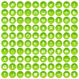 100 joy icons set green. 100 joy icons set in green circle isolated on white vectr illustration vector illustration