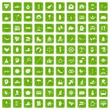 100 joy icons set grunge green. 100 joy icons set in grunge style green color isolated on white background vector illustration Stock Image