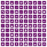 100 joy icons set grunge purple. 100 joy icons set in grunge style purple color isolated on white background vector illustration vector illustration