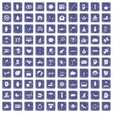 100 joy icons set grunge sapphire. 100 joy icons set in grunge style sapphire color isolated on white background vector illustration Stock Photography