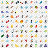 100 joy icons set, isometric 3d style Royalty Free Stock Photography