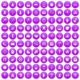 100 joy icons set purple. 100 joy icons set in purple circle isolated on white vector illustration Royalty Free Stock Photo