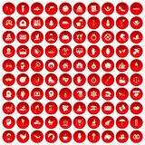 100 joy icons set red. 100 joy icons set in red circle isolated on white vector illustration Royalty Free Illustration