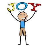 Joy Kids Means Positive Cheerful e criança ilustração royalty free