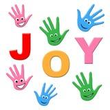 Joy Kids Shows Happy Youngsters e bambino illustrazione di stock