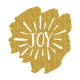 Joy lettering on gold background Royalty Free Stock Image