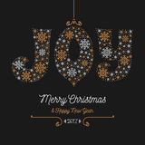 Joy lettering of snowflakes, Merry Christmas Happy New Year 2017. Joy lettering of snowflakes, Merry Christmas and Happy New Year 2017 greeting card. Style thin Royalty Free Stock Photos
