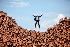 Joy of life - man jumping to the sky Royalty Free Stock Images