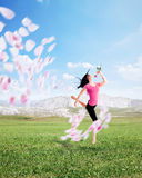 Joy of life. Young woman exudes pure joie de vivre Royalty Free Stock Photos