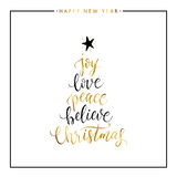 Joy, love, peace, believe, Christmas gold text isolated Stock Photos