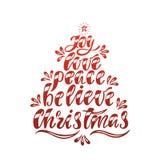 Joy Love Peace Believe Christmas Testo disegnato a mano di calligrafia Progettazione di tipografia di festa Il Babbo Natale su un Illustrazione Vettoriale