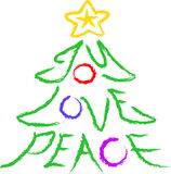 Joy-Love-Peace Tree. Crayon-type illustration of a Christmas Tree with the words joy, love, and peace Royalty Free Stock Photo