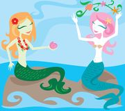 Joy of Mermaids. Two mermaids enjoying the ocean, sitting on rocks and playing with sea kelp Vector Illustration