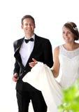 Joy of newlywed couple Stock Photography