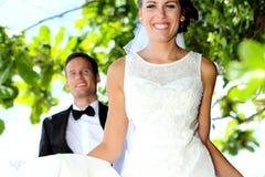 Joy of newlywed couple Stock Photos