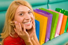 Joy out of shopping Stock Photography