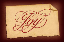 Joy Paper. This is a piece of vintage torn paper with lettering vector illustration