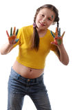 Joy. Preteen girl playing with colors Stock Photos