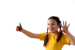 Joy. Preteen girl playing with colors Royalty Free Stock Photo