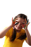 Joy. Preteen girl playing with colors Stock Photo