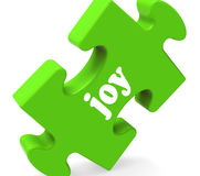 Joy Puzzle Shows Cheerful Joyful feliz y goza Imagenes de archivo