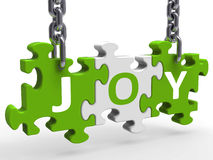 Joy Puzzle Shows Fun Cheerful Joyful And Enjoy Stock Photography