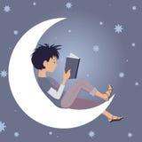 Joy of Reading. Little kid reading sitting on the Moon, vector cartoon Stock Image