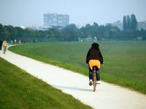 Joy Of Ride. Rideing bike on the promenade Stock Photos