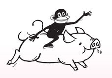 Joy ride - monkey and pig Royalty Free Stock Image