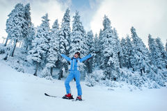 Joy of skiing stock image