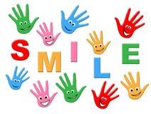 Joy Smile Indicates Drawing Child y colorido Imagen de archivo