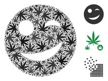 Joy Smiley Mosaic of Marijuana. Joy smiley composition of weed leaves in variable sizes and color tints. Vector flat marijuana leaves are grouped into joy smiley Stock Image
