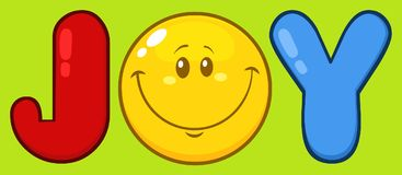 Joy With Smiley Face Cartoon tecken stock illustrationer
