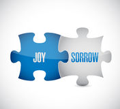 Joy and sorrow puzzle pieces sign illustration. Design over white Royalty Free Stock Image