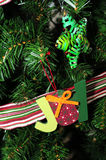 Joy and Star Holiday Ornaments Stock Images