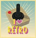 Joy Stick con el botón rojo en el cartel retro Imagen de archivo