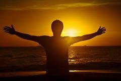 Joy at sunrise stock photo