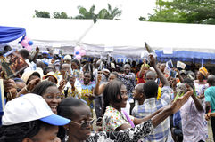 JOY OF SUPPORTERS OF PRESIDENT LAURENT GBAGBO Royalty Free Stock Photo