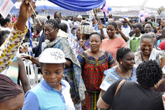 JOY OF SUPPORTERS OF PRESIDENT LAURENT GBAGBO Royalty Free Stock Images