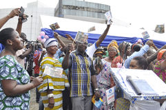 JOY OF SUPPORTERS OF PRESIDENT LAURENT GBAGBO Stock Photography