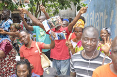 JOY OF SUPPORTERS OF PRESIDENT LAURENT GBAGBO Royalty Free Stock Photography