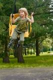 Joy swing. boy Royalty Free Stock Image