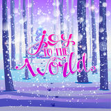 Joy to the world on forest background Stock Image