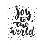Joy to the world - hand drawn Christmas and New Year winter holidays  Stock Image