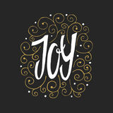Joy To The World - hand drawn lettering. Vector art. Great design element for congratulation cards, banners and flyers. Xmas design Royalty Free Stock Photography