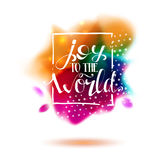 Joy to the world lettering at colorful splash Stock Photos