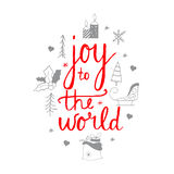 Joy to the world lettering design.Christmas icons set.Hand lettering Stock Photography