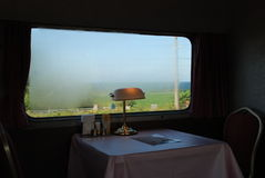 Joy of Train Travel. A serene view in the Dining Car of the Train to Hokkaido. This is only of the few long train rides with Sleeping Car still in service Royalty Free Stock Photos